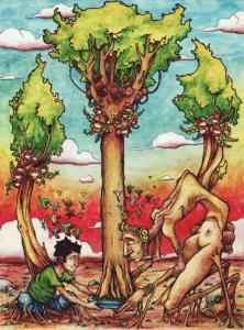 """Dessin de Teddy Ros """"Pino"""" 2012, stylo noir, aquarelle sur papier, 29,7 x 21 cm représentant l'arbre ayahuma et l'artiste teddy Ros en train de porter ensemble la plante de diète"""