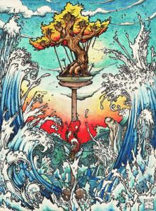 """Dessin de Teddy Ros """"La mer"""" 2011, stylo noir, aquarelle sur papier, 29,7 x 21 cm représentant la diète de coca de Teddy Ros sous forme symbolique de bonsai"""