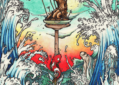 """""""La mer"""" 2011, stylo noir, aquarelle sur papier, 29,7 x 21 cm"""