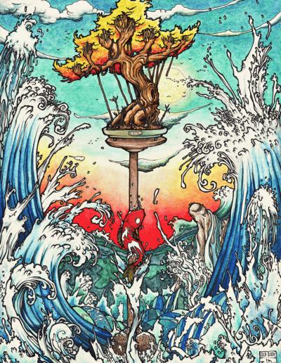 """La mer"" 2011, Black Pen, watercolour on paper, 29.7 x 21 cm"