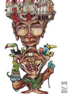 """Dessin de teddy Ros """"l'ayahuma"""" 2011, stylo noir et aquarelle sur papier, 29,7 x 21 cm représentant l'esprit de l'ayahuma avec ses animaux et son palais sur la tête"""