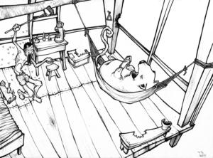 """""""lettre"""" 2009 stylo noir sur papier 29,7 x 21 cm dessin de Teddy Ros représentant l'artiste dans sa cabane d'isolation lors de son apprentissage de la médecine shipibo conibo"""