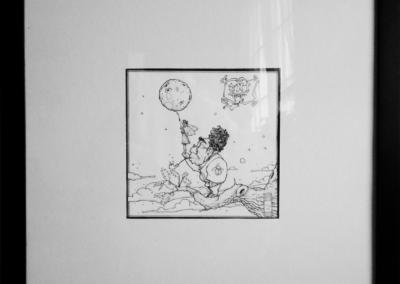 """Dessin """"Gui"""" 2012 stylo noir sur papier 16 x 16 cm - vendu de Teddy Ros représentant l'esprit du Gui qui aide une fée a toucher la lune"""