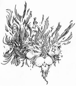 """dessin de Teddy Ros """"lyonnos"""" 2007 stylo noir sur papier 12 x 12 cm représentant un esprit lyon sous l'énergie"""