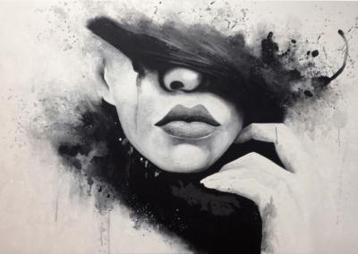 """Toile """"marine-toile"""" 2014 Acrylique sur toile 250 x 150 cm de l'artiste Teddy Ros représentant le visage d'une femme sur fond noir et blanc"""