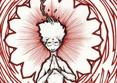 """dessin de Teddy Ros """"méditation-d'ozzy"""" feutres et stylo noir sur papier 21 x 14,8 cm représentant un méditant et l'énergie"""
