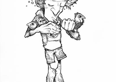 """dessin """"médito"""" 2017 stylo noir sur papier 15 x 10 cm de Teddy Ros représentant un esprit avec un masque qui allume une cigarette entourer d'oiseau"""