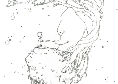 """dessin de Teddy Ros """"Petit monde"""" 2009, stylo noir sur papier, 21 x 14,8 cm représentant un petit garçon dans un petit monde sous un arbre"""