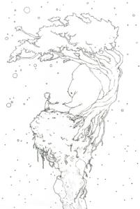 """Dessin de Teddy Ros """"Petit monde"""" stylo noir sur papier 21 x 14,8 cm représentant un petit personnage sur un petit monde a coté d'un arbre avec son amis/esprit"""