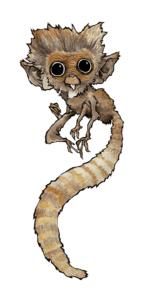 """dessin """"petit-singe"""" 2008 stylo noir et aquarelle sur papier 21 x 14,8 cm de Teddy Ros représentant un petit singe aux gros yeux"""