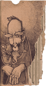 """drawing """"pipa"""" 2008 bic pen on cardboard 15 x 7 cm of Teddy Ros representing a man who smokes his pipe"""