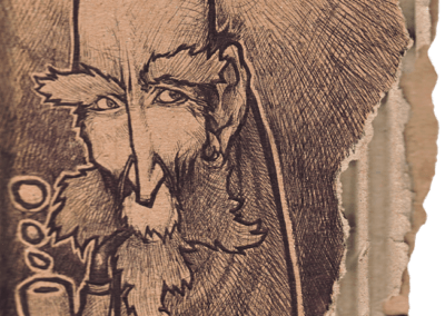 "dessin ""pipa"" 2008 stylo bic sur carton 15 x 7 cm de Teddy Ros représentant un homme qui fume sa pipe"