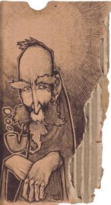 "Dessin de Teddy Ros ""pipa"" 2007 stylo bic sur carton 15 x 6 cm représentant un esprit avec une grande barbe qui fume une pipe"