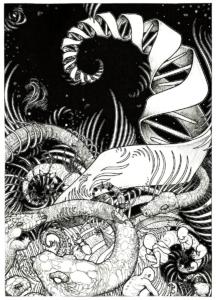 """dessin """"le serpent cosmique"""" 2007 stylo noir sur papier 42 x 29,7 cm de Teddy Ros représentant le serpent cosmique l'ADN et l'origine du savoir inspiré du livre de jeremy narby"""