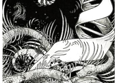 """""""le serpent cosmique"""" 2007 stylo noir sur papier 42 x 29,7 cm"""