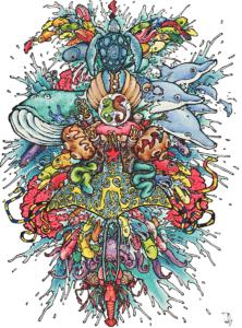 """Dessin de Teddy Ros """"Fresque poissonneuse"""" 2011, stylo noir, aquarelle sur papier, 29,7 x 21 cm représentant une fresque remplis de poissons en effet miroir"""