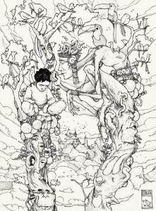 """""""Première rencontre Ayahuma"""" 2011, stylo noir sur papier, 29,7 x 21 cm Dessin de Teddy Ros représentant la première rencontre avec la plante de l'arbre ayahuma et l'artiste teddy Ros"""