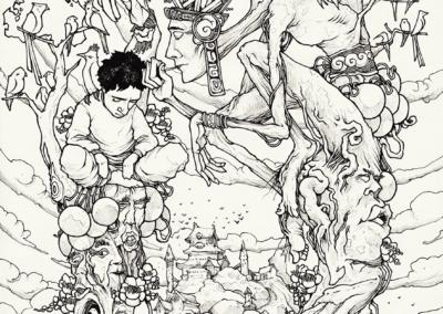 """""""Première rencontre Ayahuma"""" 2011, stylo noir sur papier, 29,7 x 21 cm"""