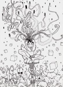 """""""prise de tete"""" 2009 stylo noir sur papier 29,7 x 21 cm dessin de Teddy Ros représentant l'artiste avec ses méandres mentales au cours de son apprentissage de la médecine traditionelle shipibo conibo"""
