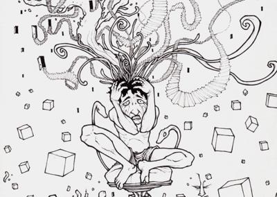 """""""prise de tete"""" 2009 black pen on paper 29.7 x 21 cm"""
