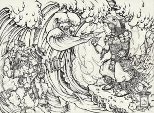"""Dessin de Teddy Ros """"Protection-dur-coca"""" 2011, stylo noir sur papier, 29,7 x 21 cm représentant l'artiste lui-même en habit de Samouraï soufflant de la fumer de tabac qui ce transforme en animaux"""
