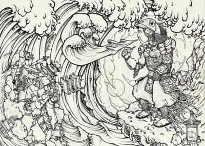 """""""Protection-dur-coca"""" 2011, stylo noir sur papier, 29,7 x 21 cm"""