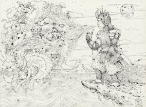 """Dessin de Teddy Ros """"Protection Coca"""" 2011, stylo noir sur papier, 29,7 x 21 cm représentant l'artiste lui-même en habit de Samouraï soufflant de la fumer de tabac qui ce transforme en animaux"""