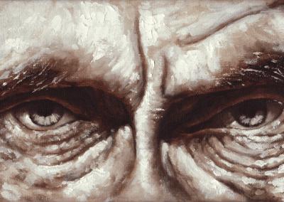 """Peinture """"regard01"""" 2010 peinture à l'huile sur toile 26 x 15 cm de l'artiste Teddy Ros utilisant la technique de l'indirect painting, toile représentant un regard d'homme"""