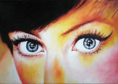 """Toile """"regards-02"""" 2012 Peinture à l'huile sur toile 22 x 16 cm de l'artiste Teddy Ros représentant les yeux bleu d'une femme au visage très coloré"""