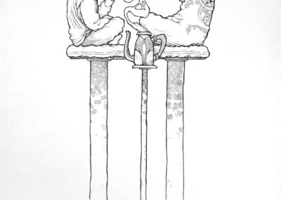 """Toile """"rencontre avec la coca"""" Posca sur toile 120 x 70 cm - Vendu de l'artiste Teddy Ros représentant la rencontre de Teddy avec l'esprit de la plante coca"""