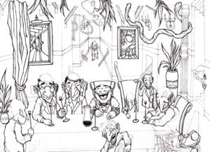 """""""Dream"""" 2009 stylo noir sur papier 29,7 x 21 cm dessin de Teddy Ros représentant un reve de l'artiste Teddy Ros au cour de sa diete avec la plante Marosa"""