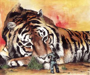"""Dessin """"tigre-aya-couleur"""" 2013 aquarelle et ancre de chine sur papier 60 x 40 cm de teddy Ros représentant un rêve de diète fait par l'artiste teddy Ros pendant sa diète avec la plante ayahuasca"""