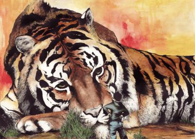 """""""tigre-aya-couleur"""" 2013 aquarelle et ancre de chine sur papier 60 x 40 cm"""