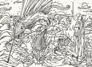 """Dessin de Teddy Ros """"Rêve Ayahuma"""" 2011, stylo noir sur papier, 29,7 x 21 cm représentant un rêve de l'artiste teddy ros lors de sa diète de plante avec l'ayahuma des personnages sont en mer lorsque un énorme poisson sort de l'eau"""