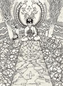 """Dessin de Teddy Ros """"Début de session"""" 2011, stylo noir sur papier, 29,7 x 21 cm représentant le début d'une sessions d'ayahuasca avec l'artiste Teddy Ros, ou tout ce transforme l'énergie prend vie"""