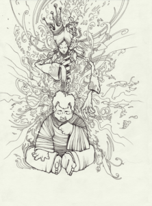 """""""Ajo sacha"""" 2009 stylo noir sur papier 29,7 x 21 cm dessin de Teddy ros représentant l'esprit de la plante Ajo sacha accompagnant un geurisseur lors d'une cérémonie d'ayahuasca"""