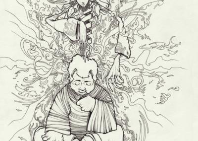 """""""Ajo sacha"""" 2009 stylo noir sur papier 29,7 x 21 cm"""