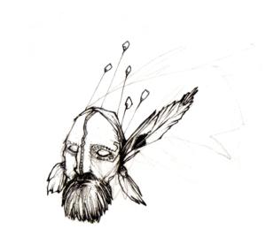"""dessin """"shaman3"""" 2007 stylo noir sur papier 5 x 5 cm de Teddy Ros représentant une tête de chaman indien"""