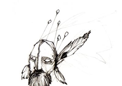 """""""shaman3"""" 2007 stylo noir sur papier 5 x 5 cm"""