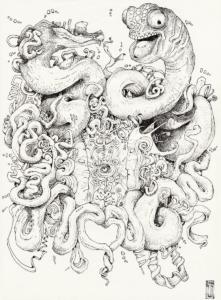 """Dessin de l'artiste Teddy Ros réaliser au Pérou en 2011 pendant son apprentissage de la médecine traditionnelle des Shipibos-Conibos """"Shitanas"""" 2011, Stylo noir sur papier, 29,7 cm x 21 cm"""