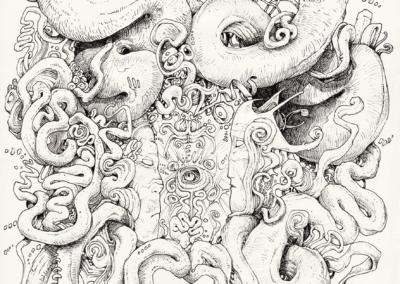 """""""Shitanas"""" 2011, Stylo noir sur papier, 29,7 cm x 21 cm"""