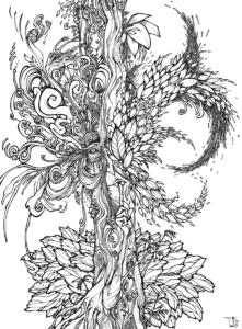 "Dessin de Teddy Ros ""Silencio"" 2011, stylo noir sur papier, 29,7 x 21 cm représentant un arbre esprit en train de dire ""silence"""