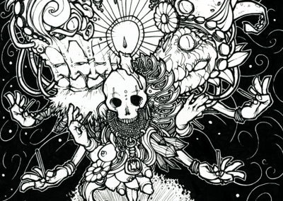 """dessin """"spirit"""" 2008 stylo noir sur papier 21 x 14,8 cm de Teddy Ros représentant un méditant et ce qui lui traverse par la tête"""