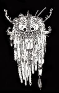 """dessin """"Tête d'esprit-chinois"""" 2008 stylo noir sur papier 21 x 14,8 cm de Teddy Ros représentant un masque d'esprit sur fond noir"""