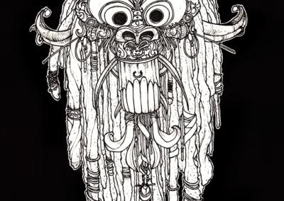 """""""Tête d'esprit-chinois"""" 2008 stylo noir sur papier 21 x 14,8 cm"""