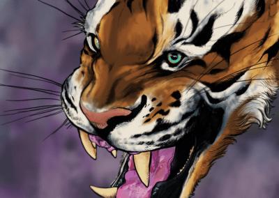 "Digital painting ""tigras"" 2017 ipad pro, procreate, apple pencil de l'artiste Teddy Ros représentant un tigre réaliste"