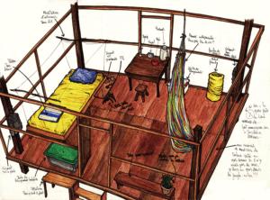 """Dessin de l'artiste Teddy Ros """"Tombo"""" 2009 stylo noir et aquarelle sur papier 29,7 x 21 cm représentant la cabane dans laquelle Teddy a fait sa première année de diète"""