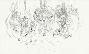 """dessin """"Jan Kounen Vision"""" 2010, stylo noir sur papier, 21 x 14,8 cm de Teddy Ros représentant trois esprits de la plantes coca en train de ce partager de la connaissance"""