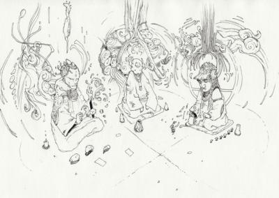 """""""Jan Kounen Vision"""" 2010, stylo noir sur papier, 21 x 14,8 cm"""