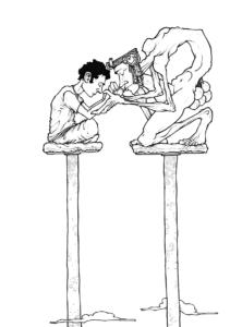 """Dessin de Teddy Ros """"Trois mois Ayahuma"""" 2011, stylo noir sur papier, 29,7 x 21 cm représentant la rencontre entre l'ayahuma et l'artiste Teddy Ros lors de son apprentissage de la médecine traditionnelle des shipibos conibos"""